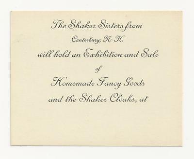 c.1910 Announcement Sale of Fancy Work Canterbury Shaker Sisters Cloaks