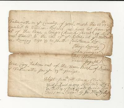 1720 Falmouth Maine Handwritten Deed to William Richards