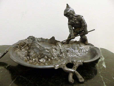 Rare Antique Wmf Silver Plated Gnome Gardener Ink Stand - Without Inkwell