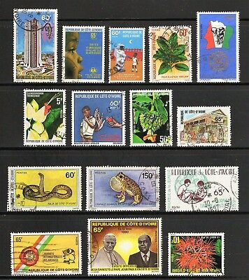 Ivory Coast -- 15 diff used commemoratives from 1979-80 -- cv $8.45