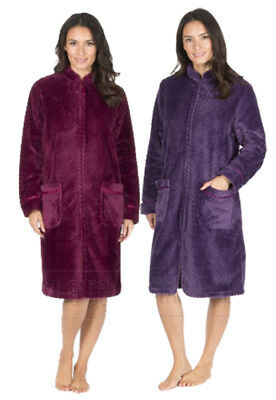 f17fd6d532 New Women s Forever Dreaming Fleece Waffle Zip Through Night Robe Dressing  Gown