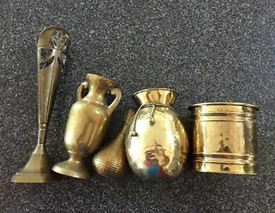 Lot Of 5 VINTAGE BRASS VASE Assorted Styles & Size