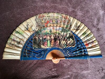 Vintage Handheld Folding Fan Wood And Fabric With Paint And Transfers