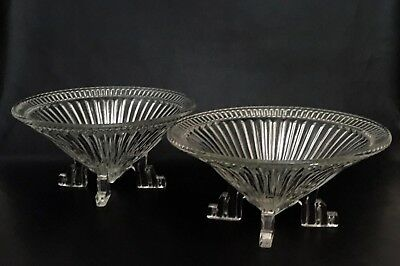 Two Large French Antique Art Deco Glass Mantle Bowls - Glassware