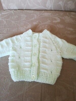 Pale green hand knitted baby cardigan - new -  fit newborn