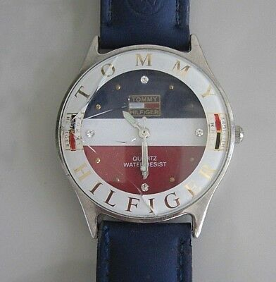 tommy hilfiger Herrenuhr Vintage defekt Uhr Quarz Waterresist Leder