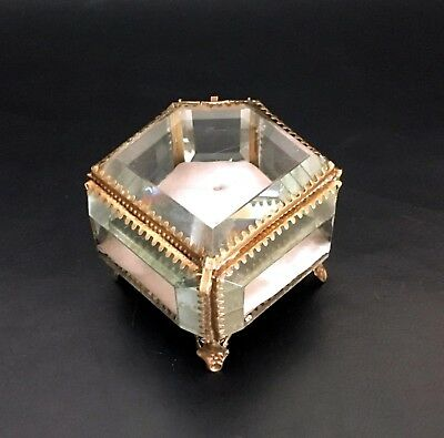 Five-Sided French Antique Bevelled Glass/Brass Nap III Trinket/Jewelry Box