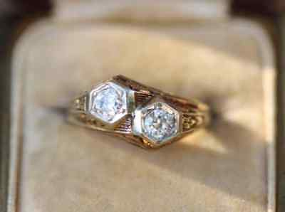 Antique Two Stone Art Deco Diamond 14k Gold Over Vintage Engagement Ring 1935's