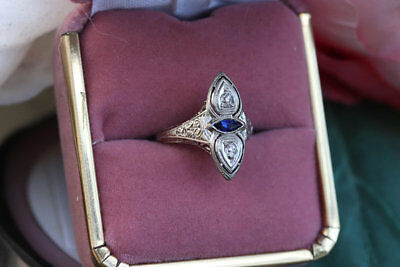 Two Stone Antique Art Deco Diamond 14k Gold Over Vintage Engagement Ring 1920's