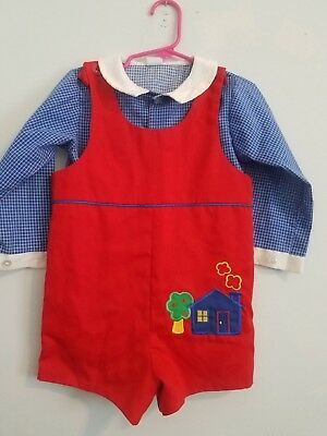 Little Boys 4T Vintage Bryan Blue & Red Embroidered Plaid Jon Jon Romper Outfit!