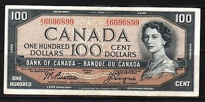 Canada - 1954 Bank of Canada 100 Dollar Banknote P82a/BC-43a  VF+/aXF Condition