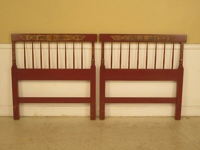 F29569E: Pair of HITCHCOCK Paint Decorated Twin Size Bed Headboards