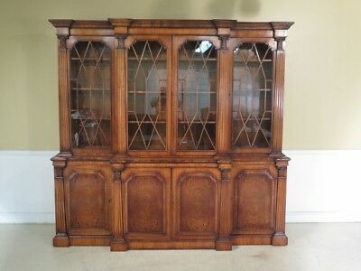 F28851EC: English Large 4 Door Continental Walnut Breakfront Bookcase
