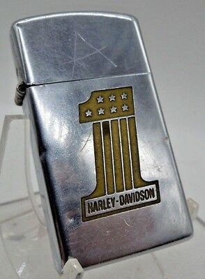 Vintage 1975 Harley Davidson #1 Slim Zippo Lighter Preowned Condition