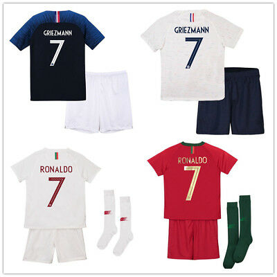 18 Football Soccer Jersey Kids Short Sleeve Kits Sport Suit With Socks Boy Youth