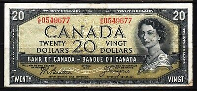"Canada - 1954 Bank of Canada 20 Dollar Banknote P70b  VF/aVF+ ""DEVIL""S FACE"""