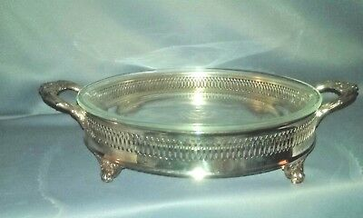 Vintage silver plated pie/casserole dish with glass insert FB Rogers Silver Co