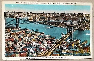Panorama of New York from Woolworth Building show*1928 gel.*Brooklyn Manhattan