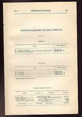 1900 Pennsylvania RR report TITUSVILLE ELECTRIC TRACTION streetcar trolley PA