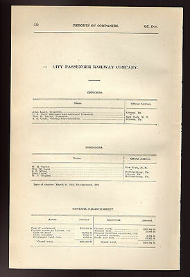 1900 Pennsylvania RR report CITY PASSANGER RAILWAY Altoona PA trolley train