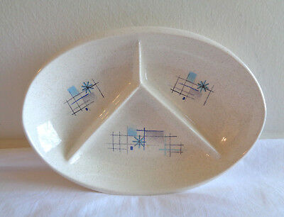 Vtg Franciscan Oasis Oval Divided 3 Section Relish Bowl Dish Atomic