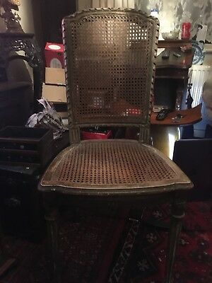 Antique Late 19th Century French Gold Guilt Chair With Cane Seat And Back