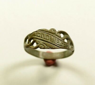 """Late Medieval Bronze Ring -""""remember Me"""" On Bezel - Wearable Artifact"""