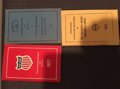 PGA Tour Tournament Regulations and By-Laws Lot (3)Books