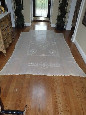 Antique or Vintage French Tambour Net Lace Bed Coverlet