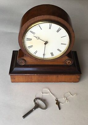 "Scarce - ""Dead Beat"" Drum Head Mantel Clock - Wooden Case - French"