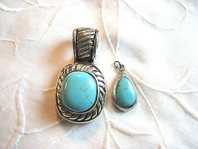 Vintage Lot of 2 Sterling Silver Pendants with Turquoise Blue Stones