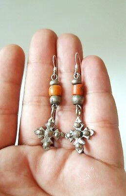 OLD BERBER EARRINGS - SILVER/NATURAL RED CORAL, Guelmim Sahara Region, Morocco