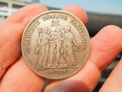 Colonial Era Coin France 5 Francs Silver Coin 1873 Beautiful Large Coin