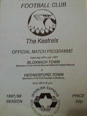 Bloxwich Town V Hednesford Town Fa Cup 97-8 Rare Issue Sell Out Only 25 Made