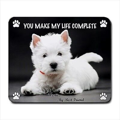 """New Cute Adorable WESTIE Dog Puppy 9.25"""" x 7.75"""" Rubber Computer MOUSE PAD Mat"""