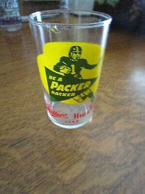 Vintage 1960'S Green Bay Packer Miller High Life Beer Glass Be A Packer Backer
