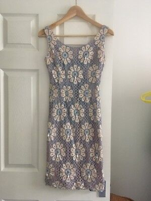 1950s Purple And Blue Lace Wiggle Pencil Dress with Bead Tassles 6 8 XS