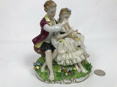 Vintage Rare Signed Unterweissbach German Dresden Female & Male Playing Music Nr