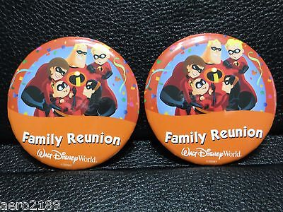 "Walt Disney World - 2 ""Family Reunion"" button pins with the Incredibles"