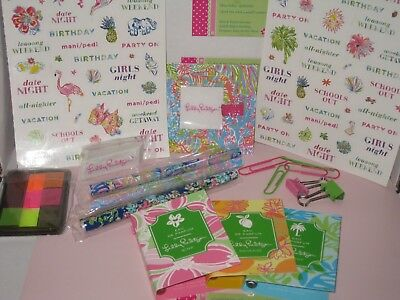 Lilly Pulitzer Back to School Package all New/ Pens are Free Stickers,Pen Holder