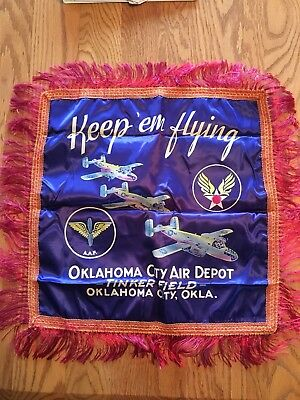 Army Air Force Silk Pillow Cover - Oklahoma City Air Depot With Original Mailer!