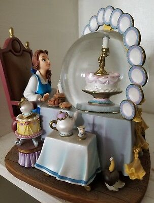 Disney Beauty Beast Belle Be My Guest Plates Musical Globe Snowglobe With Box
