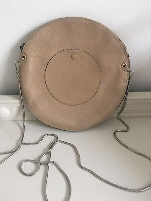 Vintage 1960s Round Leather Bag Peachy Colour With Chain