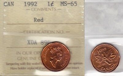 1992 ICCS MS65 1 cent Red Canada one penny