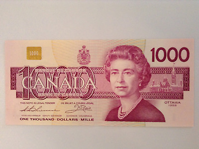 Canadian $1000 bill, Replacement Note, Low serial # EKX0039560