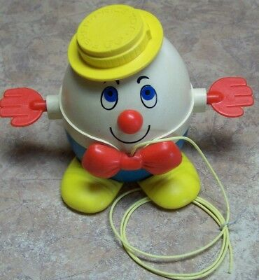 Original Fisher Price Humpty Dumpty Pull Toy Yellow Hat Shoes Cord 736 Free Ship