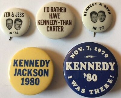 Nice Lot of Five Ted Kennedy for President Political Campaign Pins