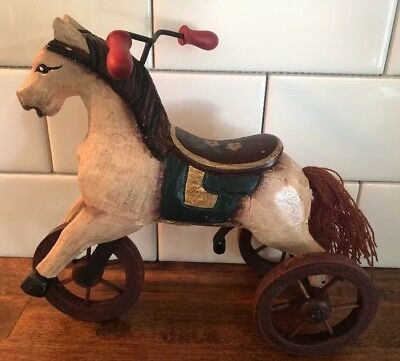 Vintage Style Wood Victorian Carousel Horse Tricycle Wheels