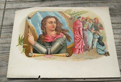 JOAN OF ARC TRIAL CIGAR BOX LABEL 1880-1890 RARE beheading France/England War