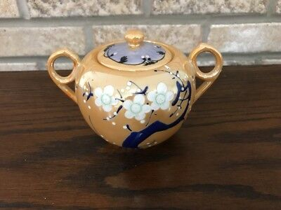 VINTAGE HAND PAINTED LUSTER HANDLED SUGAR BOWL LID Floral Asian